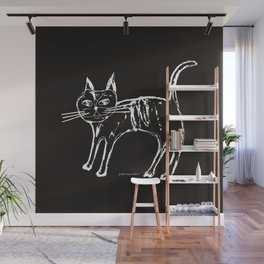 Little cat  white-black Wall Mural