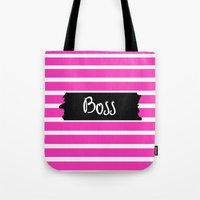 boss Tote Bags featuring Boss by msstephiebaby