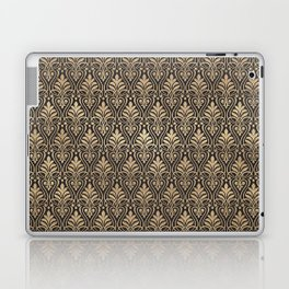 Chic Gold and Black Art Deco Leafy Damask Laptop & iPad Skin
