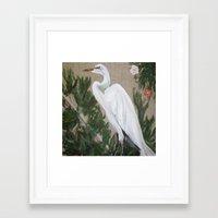 crane Framed Art Prints featuring Crane by Lark Nouveau Studio