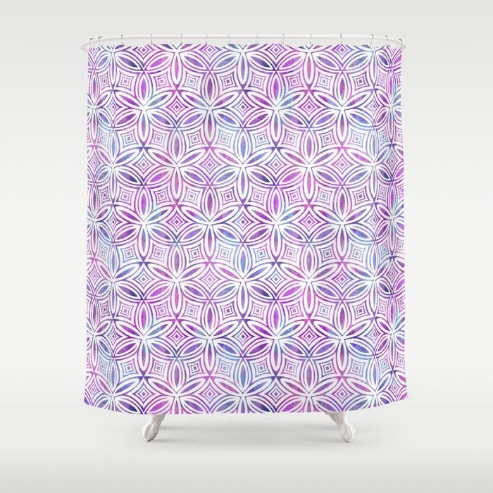 Floral Elegant Tribal Pattern Pink Maroon Gray Green Shower Curtain