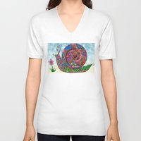 snail V-neck T-shirts featuring Snail by WelshPixie