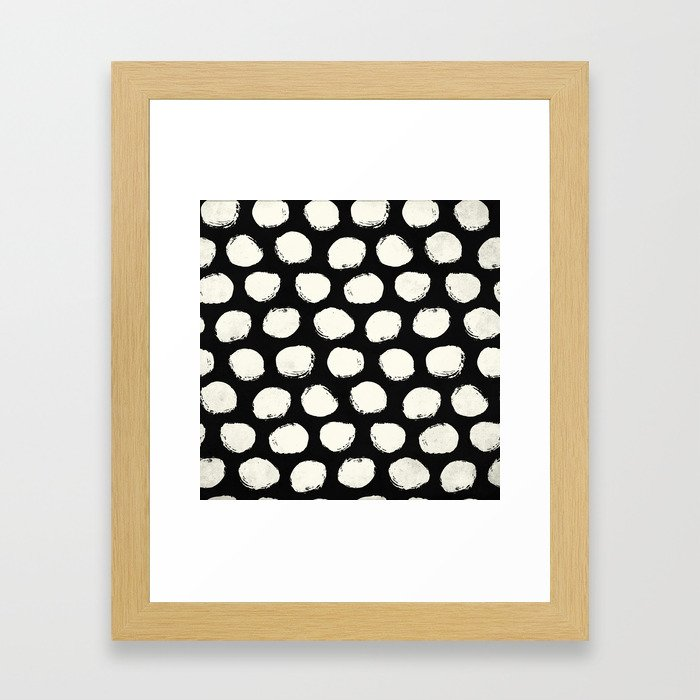 Trendy Cream Polka Dots on Black Framed Art Print