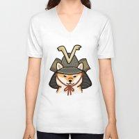 shiba inu V-neck T-shirts featuring Shiba Inu by Lottie