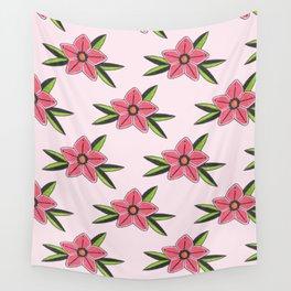 Old school tattoo flower pattern in pink Wall Tapestry