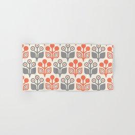 Mid Century Garden Flower Pattern Orange Grey Hand & Bath Towel