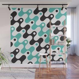 Geometric Pattern 79 (blue black waves) Wall Mural