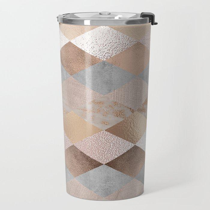 Copper and Blush Rose Gold Marble Argyle Travel Mug