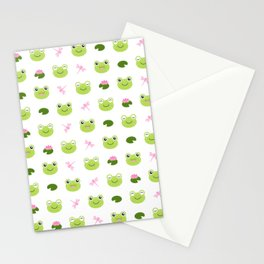Frogs, Dragonflies and Lilypads on White Stationery Cards