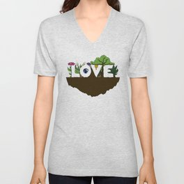 Love for Nature in Negative Space Unisex V-Neck