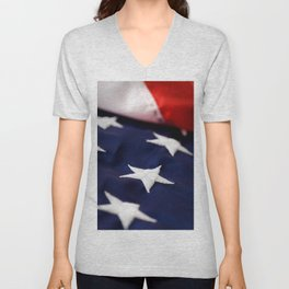 Focus On American Flag Star Unisex V-Neck