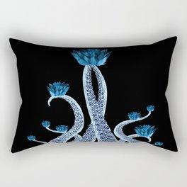 Octopus with Blue Lotus Flower Floral Print Rectangular Pillow