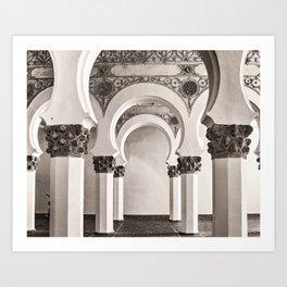 The Historic Arches in the Synagogue of Santa María la Blanca, Toledo Spain Art Print