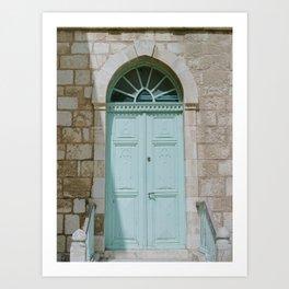 Simple Blue Doorway / Holy Land Fine Art Film Photography Art Print