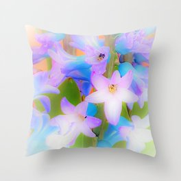 Bouquet in Blue and Pink 3 - enhanced and in blue white and green actually Throw Pillow