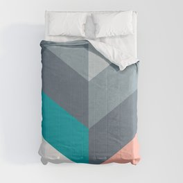 Vertical Chevron Pattern - Teal, Coral and Dusty Blues #geometry #minimalart #society6 Comforters