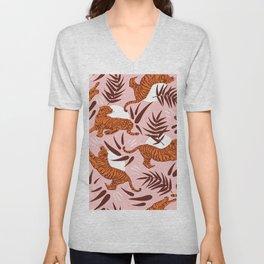 Vibrant Wilderness / Tigers on Pink Unisex V-Neck