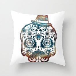Mr. Fire Sugar Skull - worst nightmare Throw Pillow