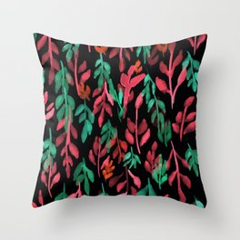 180726 Abstract Leaves Botanical Dark Mode 14|Botanical Illustrations Throw Pillow