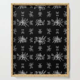 Black and White Tribal Print Serving Tray