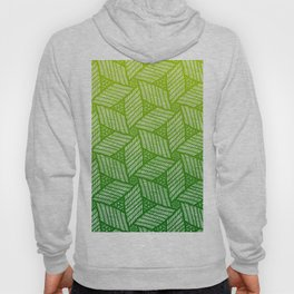 Japanese style wood carving pattern in green Hoody
