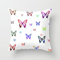 butterflies Throw Pillows featuring Butterflies. by haroulita