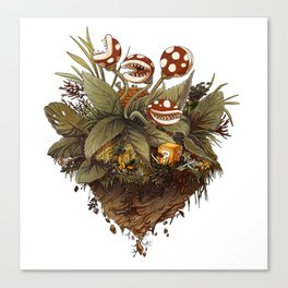 Garden full of piranha plants sepia Canvas Print