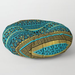 Mexican Style pattern - black, teal and gold Floor Pillow