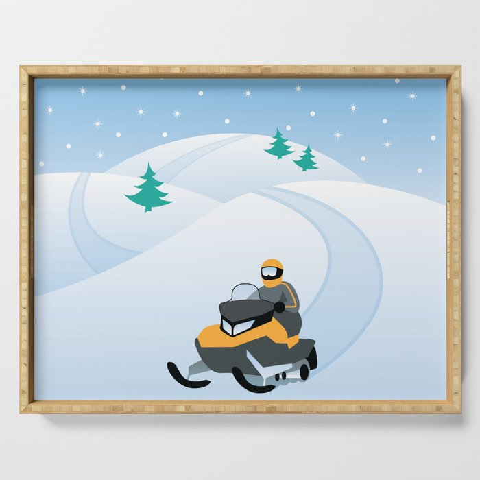 Snowmobiling on a Snowy Winter Day Serving Tray