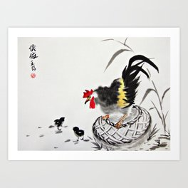Rooster and Its two chicks Art Print
