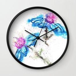Blue Flowers Painting Wall Clock