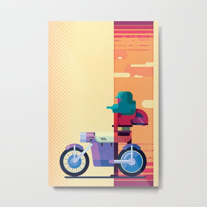 Sunset Biker Metal Print