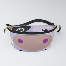 Purple cow by Leslie harlo Fanny Pack