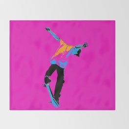 """Flipping the Deck"" Skateboarding Stunt Throw Blanket"