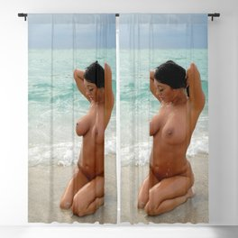 9037-SS Beautiful Naked Woman Nude Beach Sand Surf Big Breasts Long Black Hair Sexy Erotic Art Blackout Curtain
