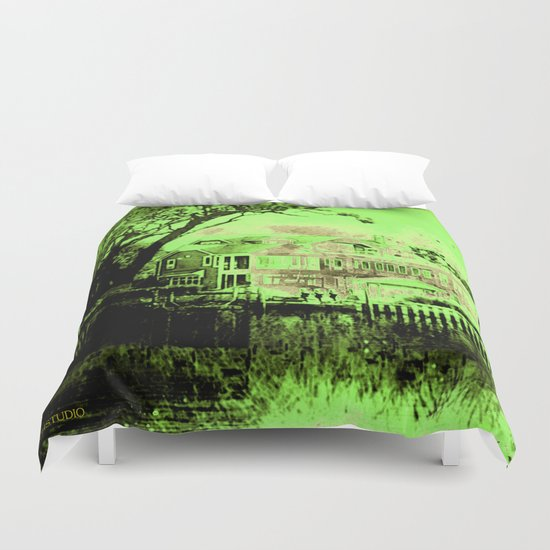 Green Spooky Boathouse Duvet Cover