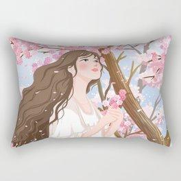 Girl In Flower Sea Rectangular Pillow