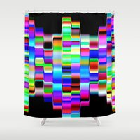 computer Shower Curtains featuring Hello Computer by NatalieCatLee