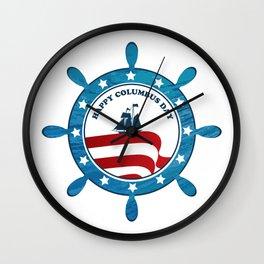 Columbus Ship steering wheel - Happy Columbus Day Wall Clock
