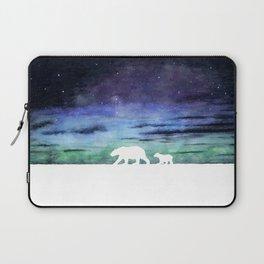 Aurora borealis and polar bears (white version) Laptop Sleeve