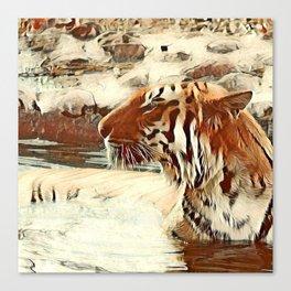 Warm colored Animal swimming tiger Canvas Print