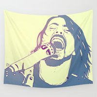 dave grohl Wall Tapestries featuring Dave Grohl by Giuseppe Cristiano