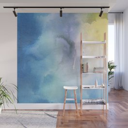 Navy blue teal lavender yellow watercolor brushstrokes Wall Mural