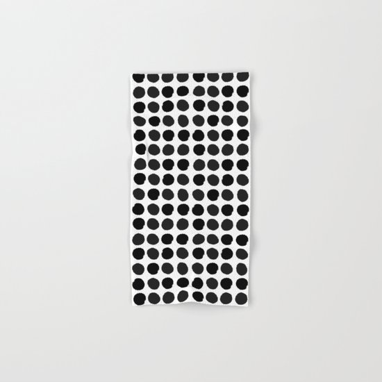 Black and white minimal paint brush painterly dots polka dots minimal modern dorm college painting Hand & Bath Towel