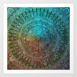 Cold Metal Flower Mandala Art Print