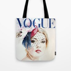 Vogue Magazine Cover. Hat by Ella Gajewska. Fashion Illustration Tote Bag