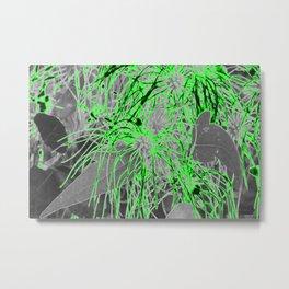 Electric Orbs - Green Metal Print