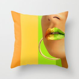 Lips in pastel lines Throw Pillow