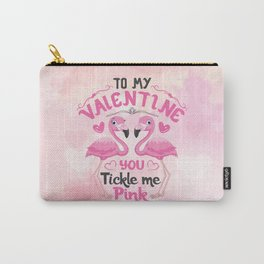 Pink Flamingos and Hearts Carry-All Pouch