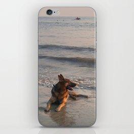 German Shepherd in the Surf Palolem iPhone Skin